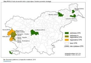 Karta slovenskih občin s pripravljeno CPS